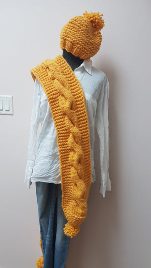 CHUNKY LONG SCARF WARM SUN