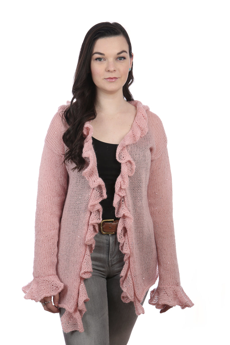LONG SLEEVES RAFFLE CARDIGAN - PINK