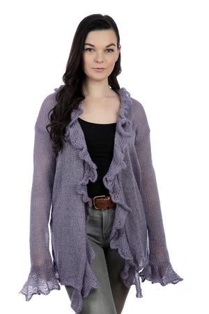 LONG SLEEVES RAFFLE CARDIGAN - VIOLET