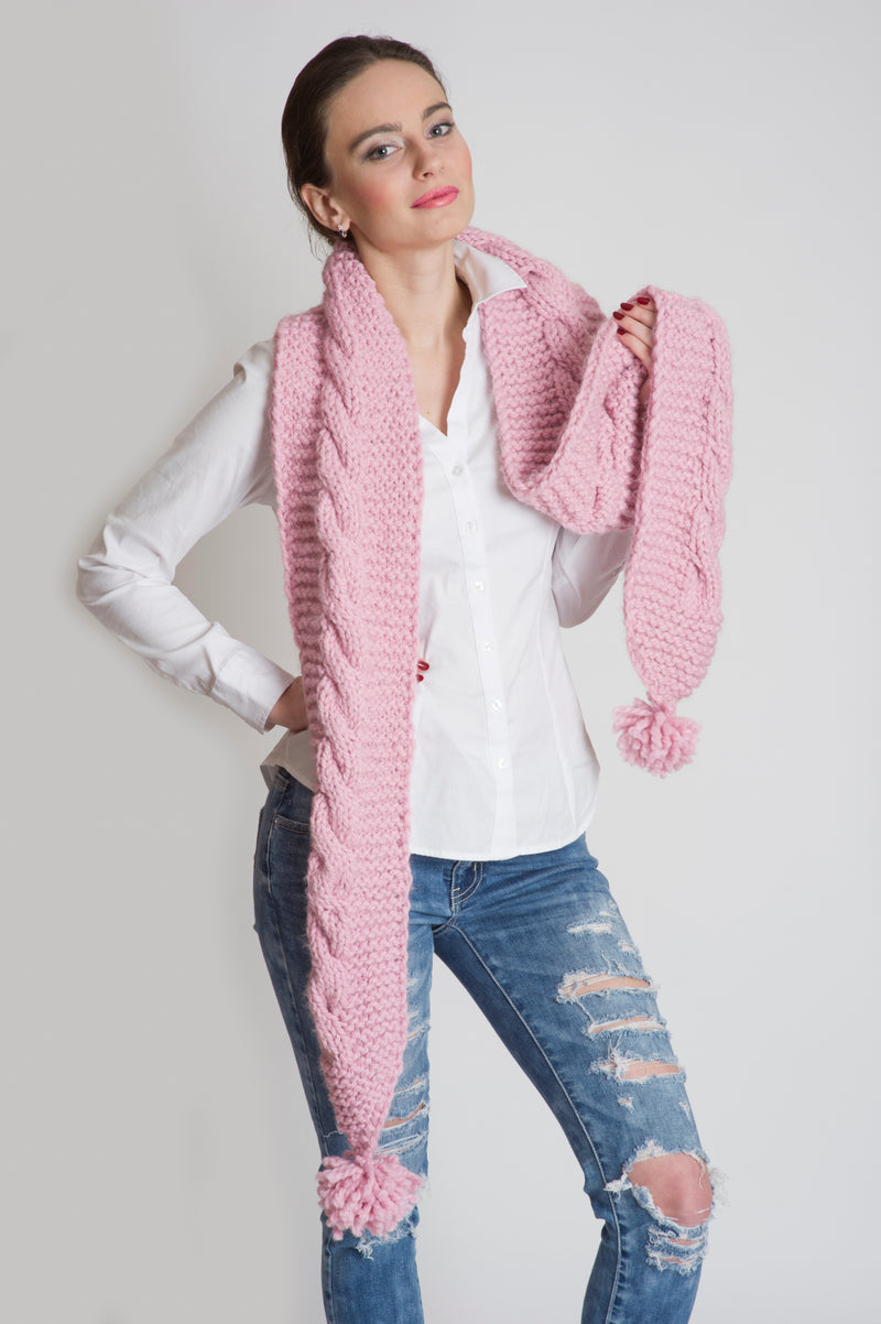 CHUNKY LONG SCARF PINK