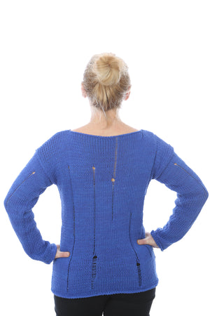 SLIP-STITCH PULLOVER - ROYAL BLUE