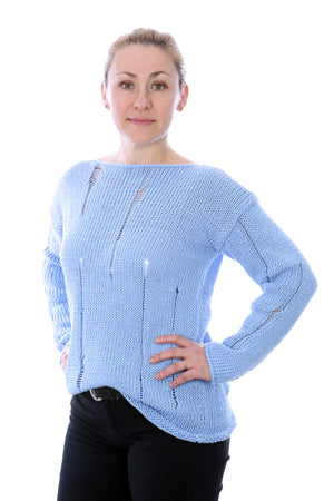 SLIP-STITCH PULLOVER - LIGHT BLUE