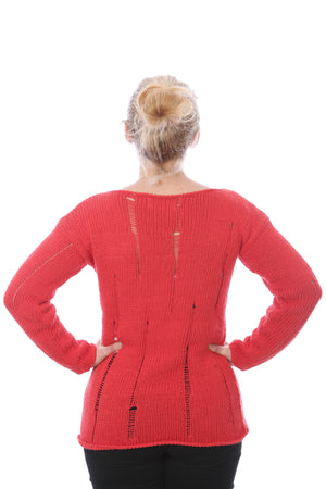 SLIP-STITCH PULLOVER -  RED