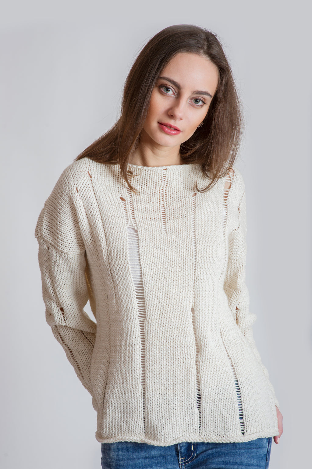 UNBLEACHED COTTON SLIP-STITCH PULLOVER
