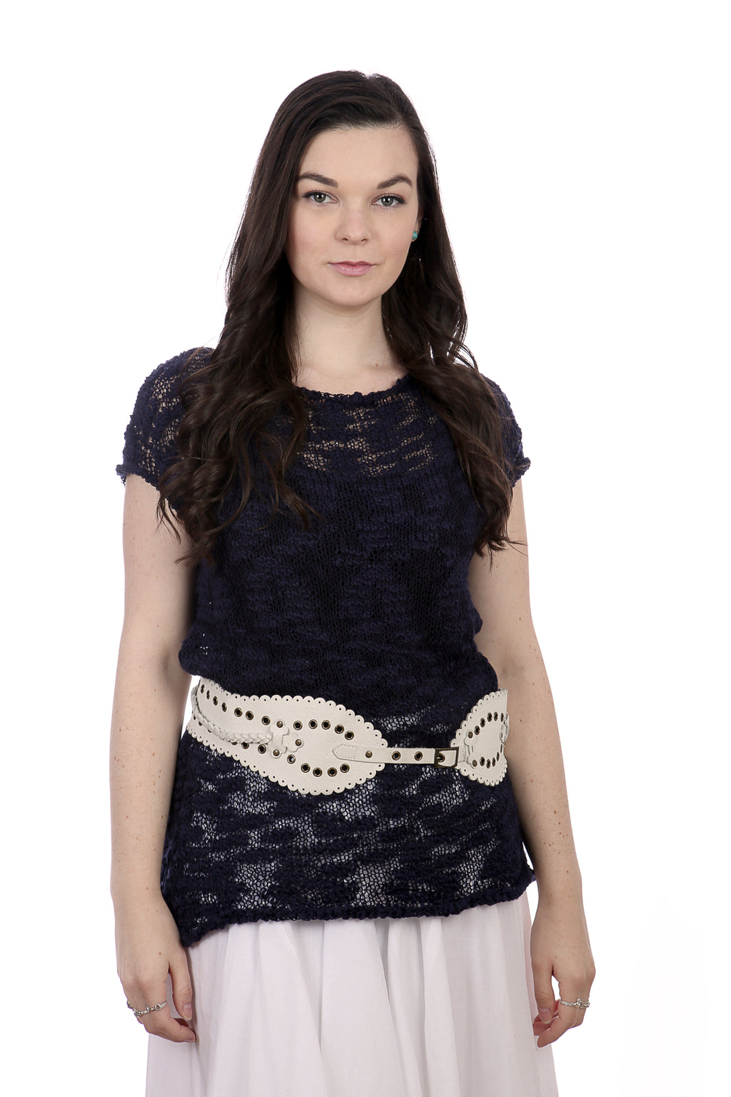SHORT SLEEVES SUMMER TOP - DARK BLUE