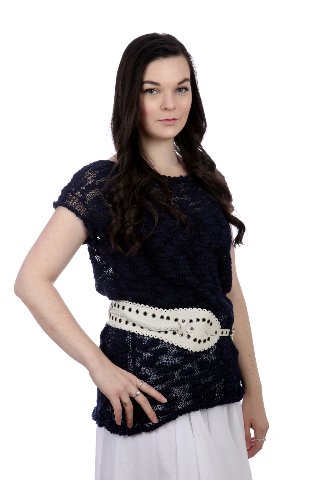 SHORT SLEEVES SUMMER TOP - NAVY