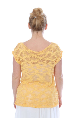 SHORT SLEEVES SUMMER TOP -YELLOW
