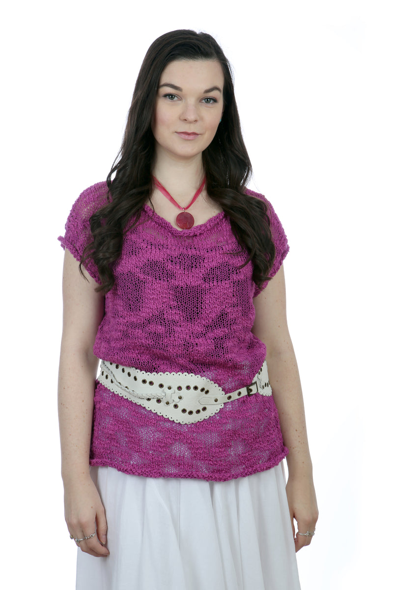 SHORT SLEEVES SUMMER TOP - DARK PURPLE