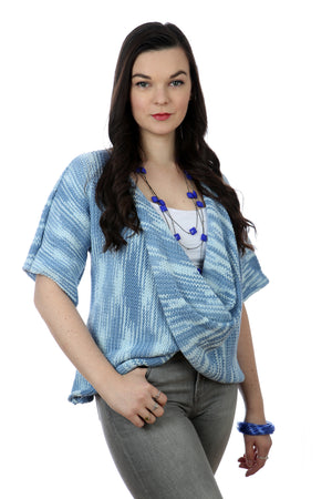 FADED DENIM COTTON TWISTER TOP