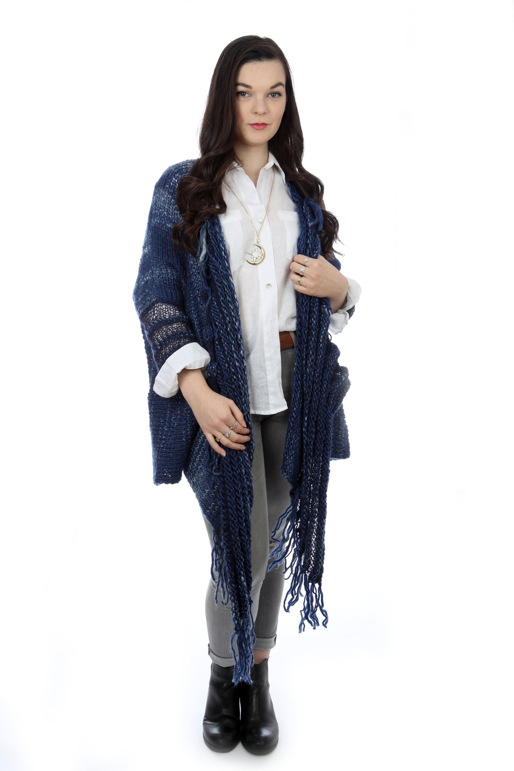 WATERFALL CARDIGAN - BLUE