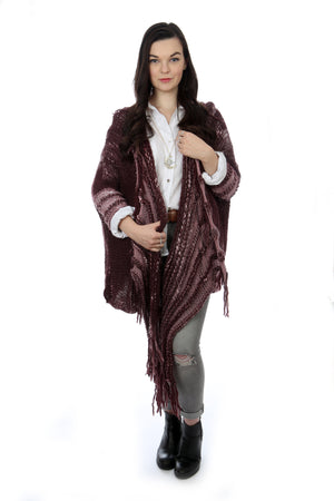 WATERFALL CARDIGAN - CHOCOLATE CHERRY