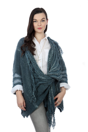 WATERFALL CARDIGAN - DENIM