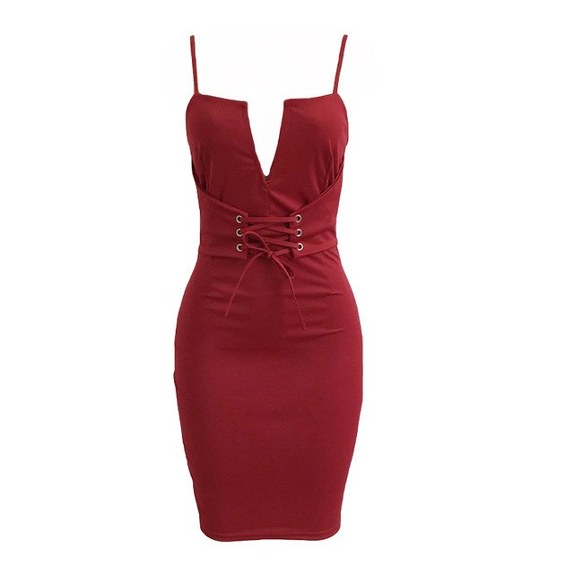 Women Sexy Club Pencil Dress Solid Plunging V Neck Sleeveless Slip Dress Bandage Lace Up Waist Midi Backless Bodycon Sundress