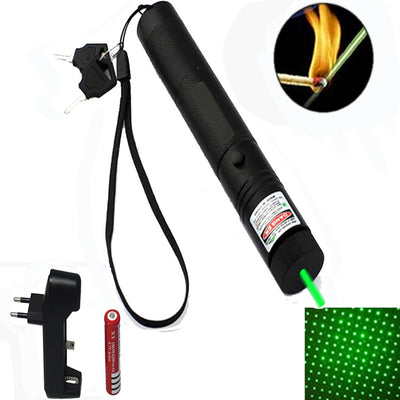 10000m 532 nm Green Laser Sight  Lasers Pointer Powerful device Adjustable Focus Lazer with laser 303+Charger+18650 Battery