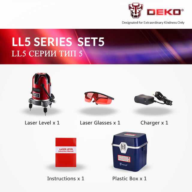 DEKO 5 Lines 6 Points Laser Level Automatic Self Leveling 360 Vertical&Horizontal Tilt & Outdoor Mode can use w/ Receiver