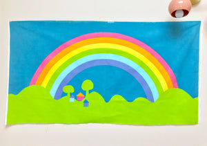 Cheery 1970s Pastel Rainbow Fabric Panel Art