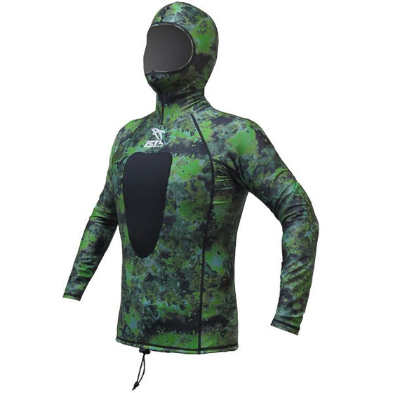 OBD 1ST Hooded Lycra/ Neoprene Rashie - Green Camo