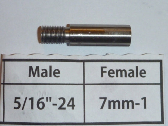 "Threaded Adapter 5/16"" Male to 7mm Female"