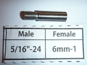 "Threaded Adapter 5/16"" Male to 6mm Female"
