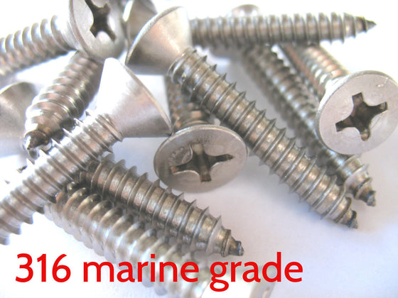 OBD Stainless 316 CSK Phillips Screws (Pair)