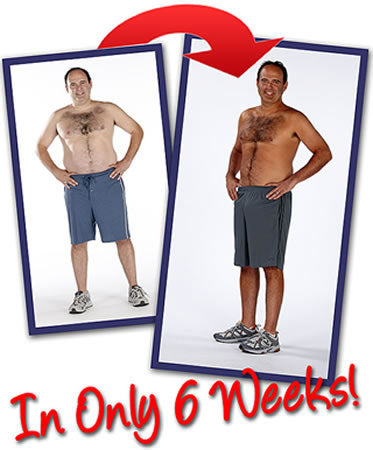 Male standing showing how you lost weigh and inches in ONLY 6 week