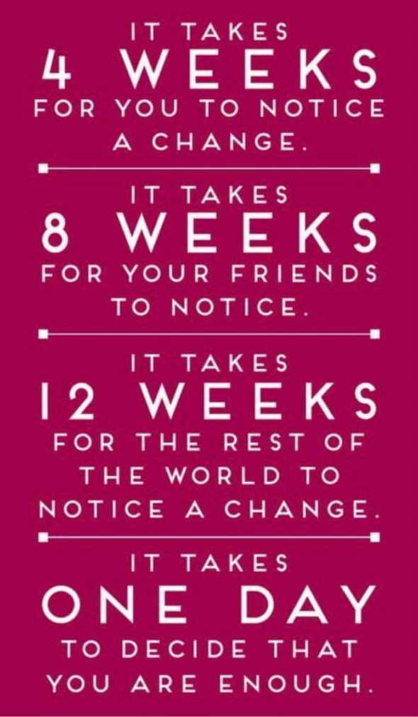 It take 4 weeks for you to notice a change in your body
