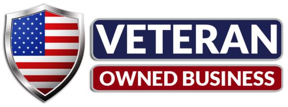 Red, white and blue symbol for veteran owned business