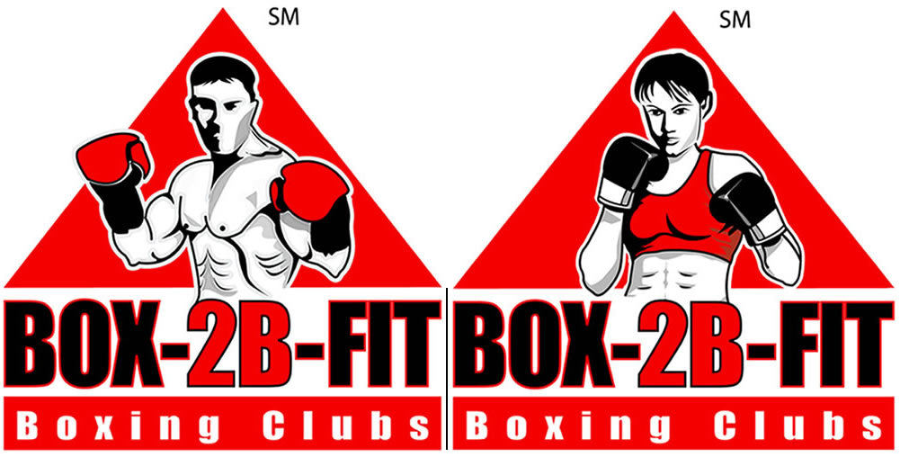 Male & Female BOX-2B-FIT Service Mark logo in red, black and white color
