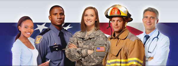 Female teacher, male police officer, male military solider, male fire fighter and male doctor all in a picture