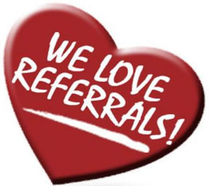 Big red heart with we love referrals.