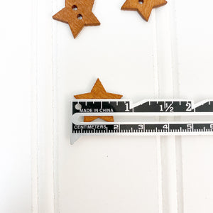 Star Wood Button - 5 pack