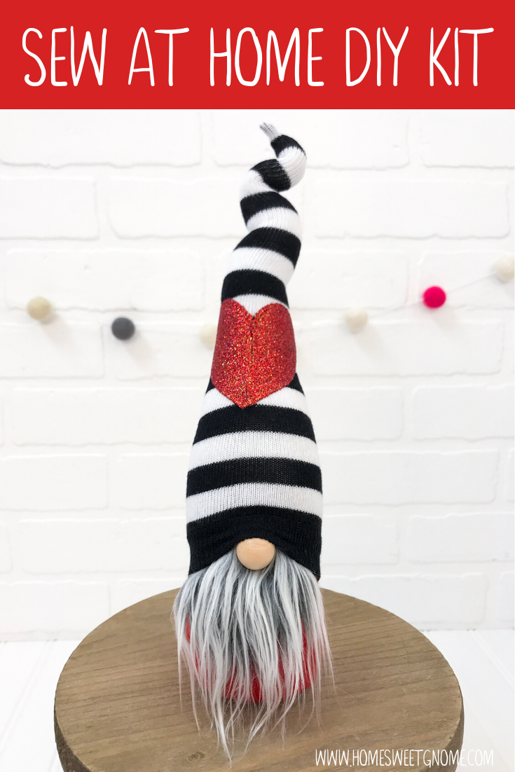 DIY Black Stripe With Red Heart Gnome  - SEW AT HOME