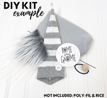 Load image into Gallery viewer, DIY Gray & White Striped Gnome Kit - NO SEW - 1025