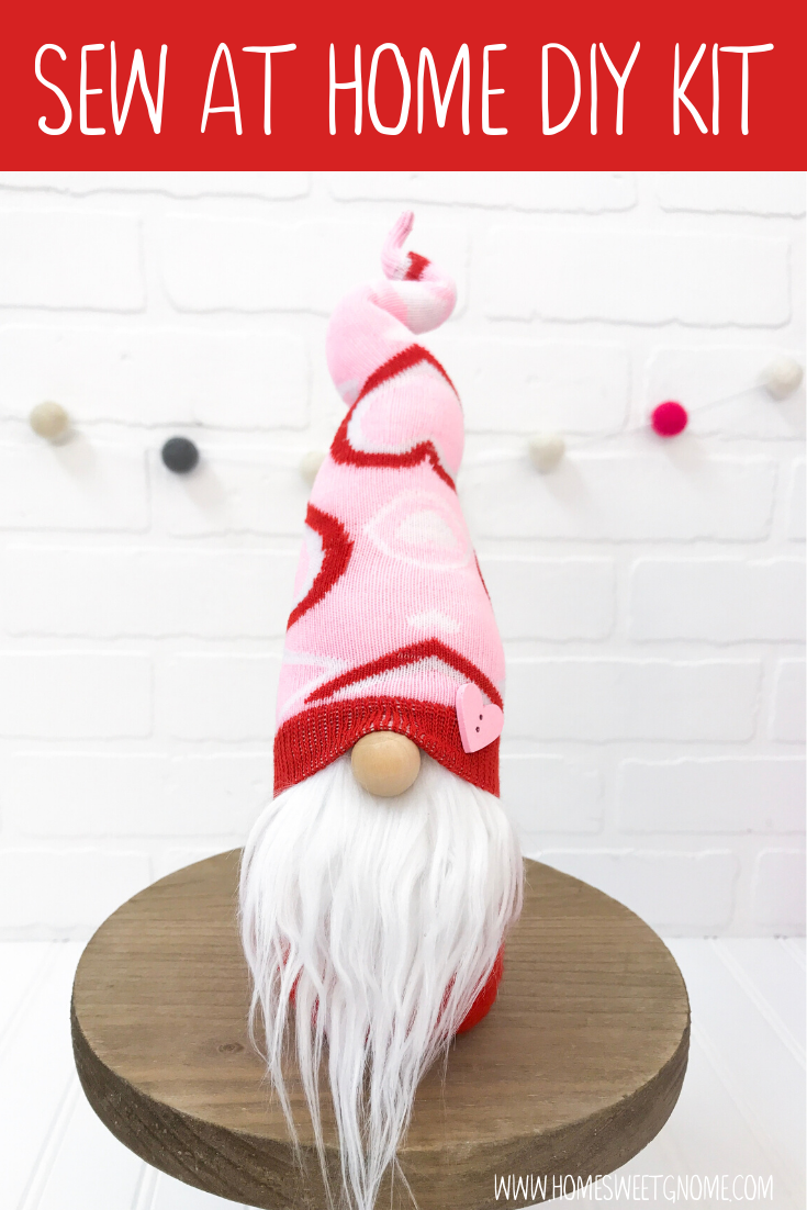 DIY Pink & Red Scattered Heart Gnome  - SEW AT HOME