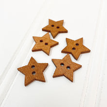 Load image into Gallery viewer, Star Wood Button - 5 pack