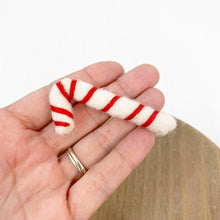 "Load image into Gallery viewer, 2.5"" Felted White Candy Cane"