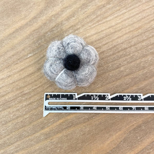 "1.5"" Gray with Black Stem Felted Pumpkin"