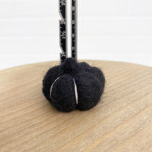 "Load image into Gallery viewer, 1.5"" Black Felted Pumpkin"