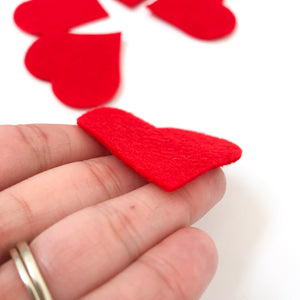 "Pre-cut 2"" Felt Heart - 5 pack - Choose Your Color"