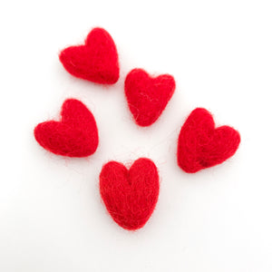 "Small 1"" Felted Heart Pack of 5 - Choose Your Color"