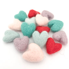 "Load image into Gallery viewer, Small 1"" Felted Heart Pack of 5 - Choose Your Color"