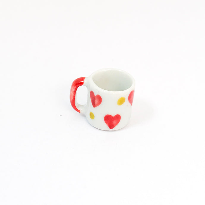 EMPTY - Miniature Ceramic Red & Dot Heart Mug - Style 2