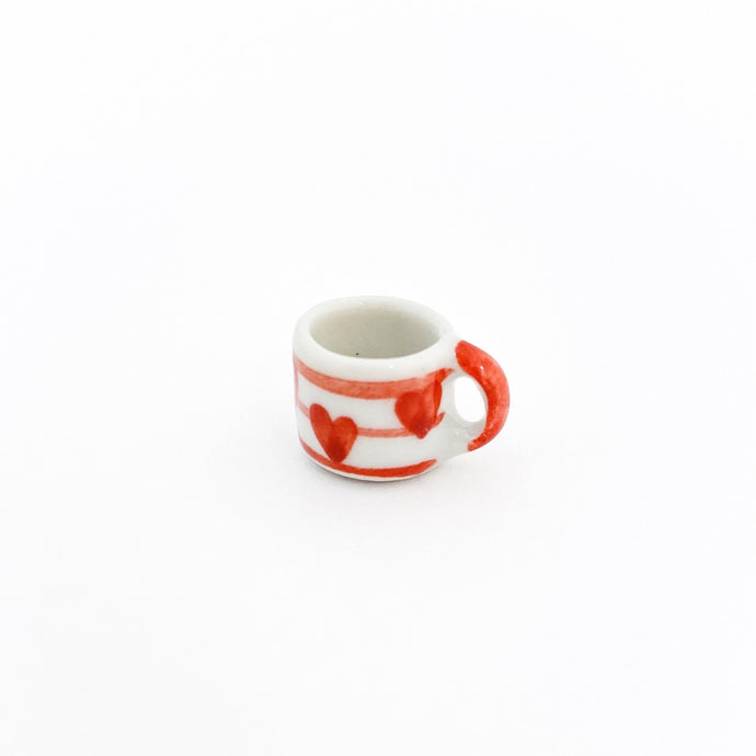 EMPTY - Miniature Ceramic Red Heart Stripe Mug