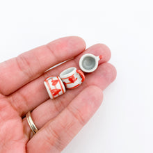 Load image into Gallery viewer, EMPTY - Miniature Ceramic Red Heart Stripe Mug