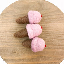 "Load image into Gallery viewer, 2.5"" Pink Cherry Felted Ice Cream Cone"