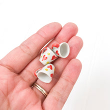 Load image into Gallery viewer, EMPTY - Miniature Ceramic Red & Dot Heart Mug