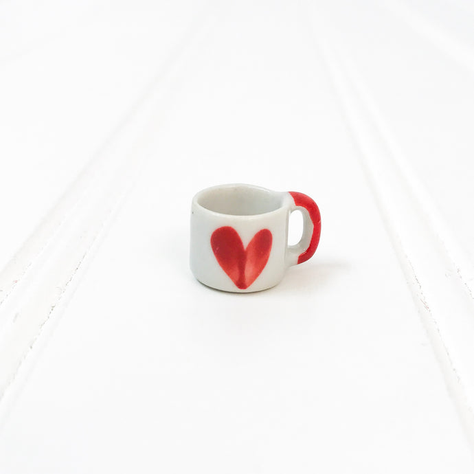 EMPTY - Miniature Ceramic Red Heart Mug