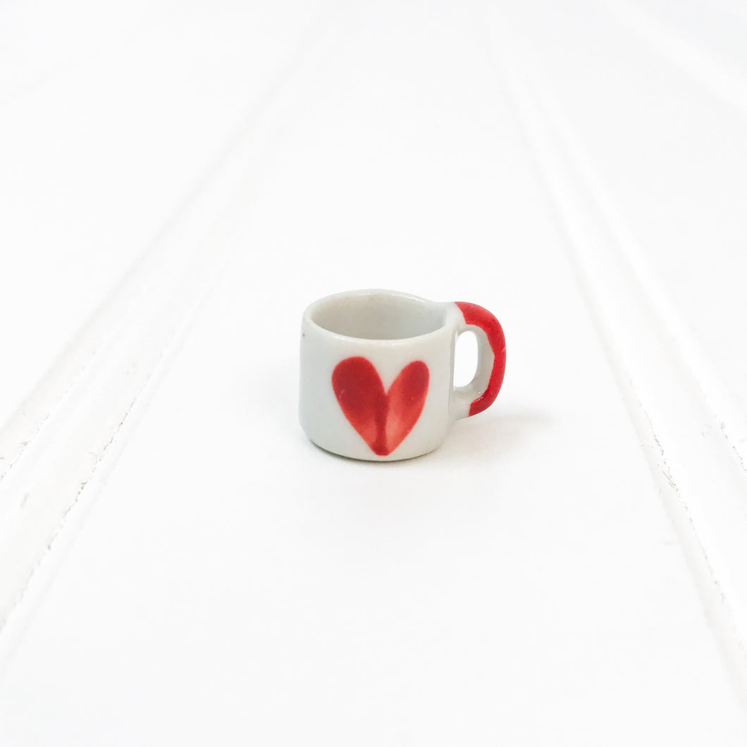 EMPTY - Miniature Ceramic Red Heart Mug - RESTOCK 2/17