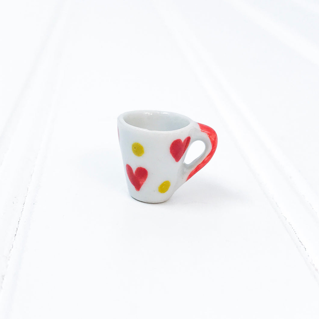 EMPTY - Miniature Ceramic Red & Dot Heart Mug