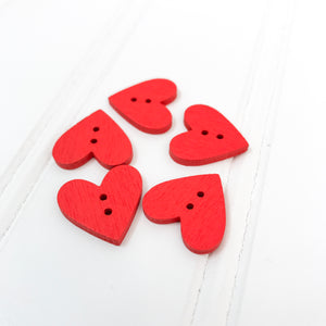 Red Wood Heart Buttons - 5 pack